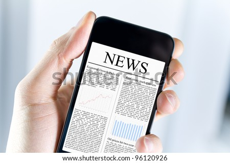 A man holding modern mobile smart phone with news article on screen. Closeup shot. - stock photo