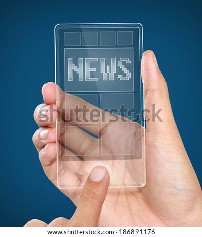 A man holding modern transparent mobile smart phone with news on screen. Closeup shot - stock photo