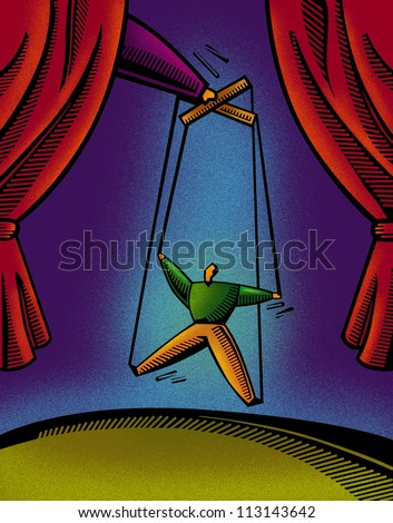 A man hung on strings like a puppet - stock photo