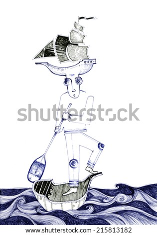 a man in a boat, roaming, with another boat on his head, in a sea of waves/sailor man/handmade mixed media drawing on paper with digital post production - stock photo