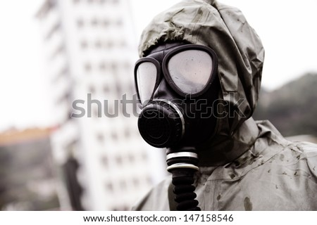 A man in a gas mask.