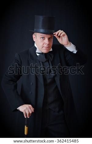 man vintage tuxedo hat stock photo royalty free 362415485
