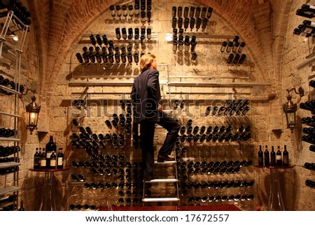 a man in a wine cellar - stock photo