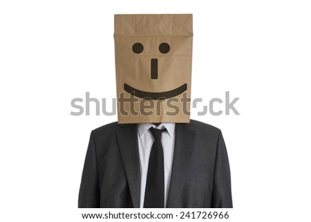 A Man in suit with a paper bag with smiling smiley on his head isolated on white background