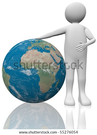 A man in white with an earth's sphere