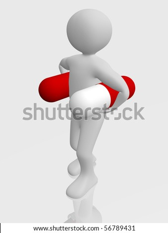 A man is carring two pharmaceutical pills - stock photo