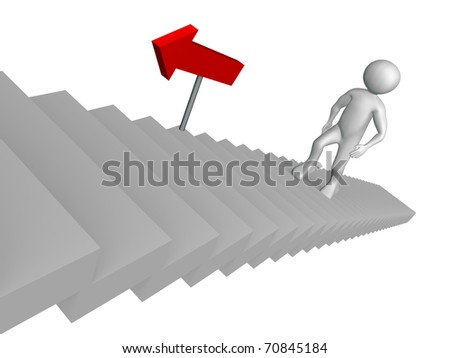 A man is  going up  the stairs. Success in business concept