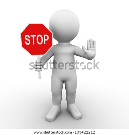 A man is holding a stop sign and asks you to wait - stock photo