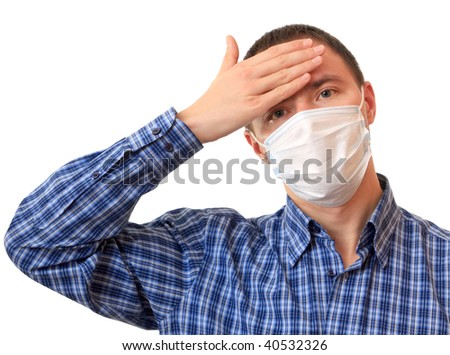 A man is in a non-permanent medical mask. - stock photo