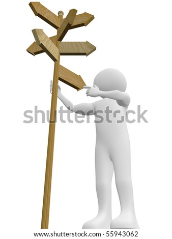 A man is taking a decision with the help of a signpost - stock photo