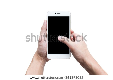 A man is using his thumb to touch the smartphone screen on isolated white background. - stock photo