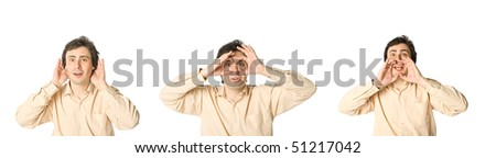 A man listening, hearing and shouting in a turn - stock photo