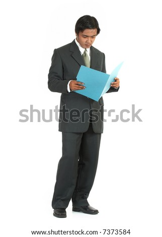 a man looking at a folder over a white background - stock photo