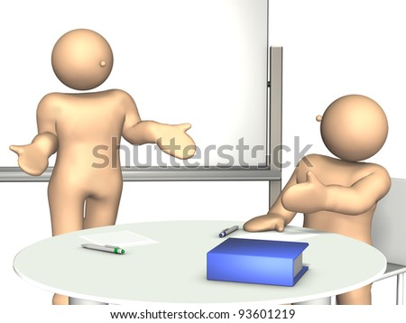 A man  makes excuses to his boss ,in office. This is a computer generated image,on white background. - stock photo