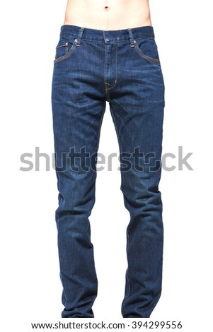 A man(male, boy) stand up wearing blue denim pants(trousers, jeans), straight style, running(walking) shoes close up isolated white at the studio.