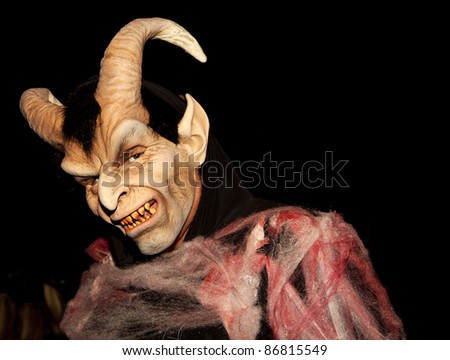 A man on halloween night. - stock photo