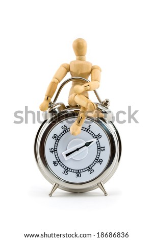 A Man on Time - Mini Mannequin with Timer Isolated on White Background - stock photo