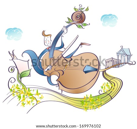 A man playing a cello down a path filled with flowers. - stock photo