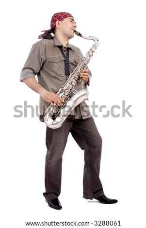 A man playing his wind instrument with expression. - stock photo