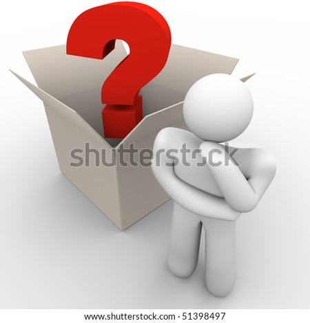 A man ponders a question with outside the box thinking - stock photo