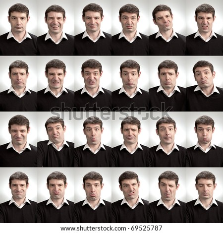 A man pulling a variety of silly faces. A composite of 24 different facial expressions. - stock photo