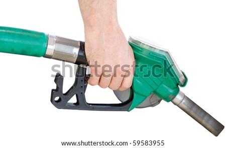 A man pumping gas - stock photo