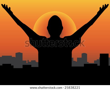 A man raising his hand towards the sun hoping for a brand new day concept! - stock photo