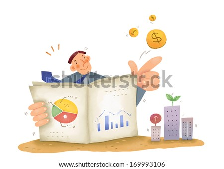 A man reading graphs and growing buildings. - stock photo