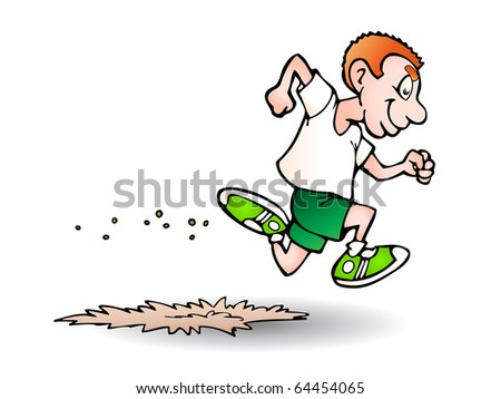 a man running very fast illustration isolated on white background - stock photo