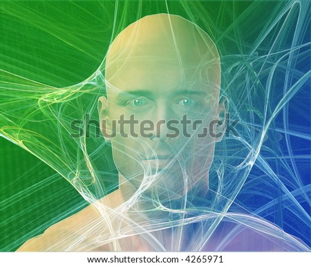 A man's face, surrounding by information Green background - stock photo