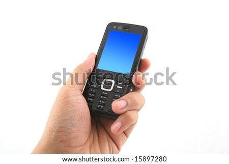 A man's hand holding a latest release mobile phone. Shot over white background
