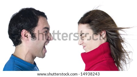 A man screaming at her girlfriend on white background. - stock photo