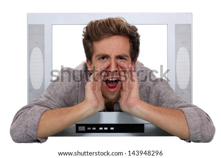 A man shouting through a TV.
