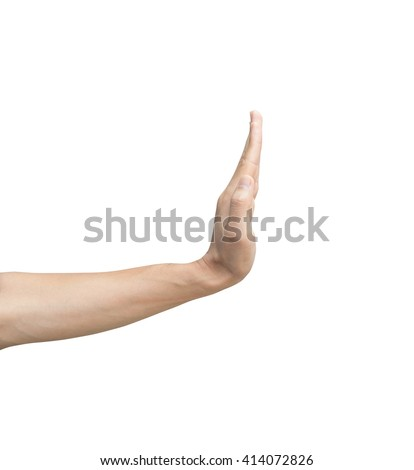 a man show side left hand show hi five, greet, stop, empty, slow down sign, motion isolate on white background