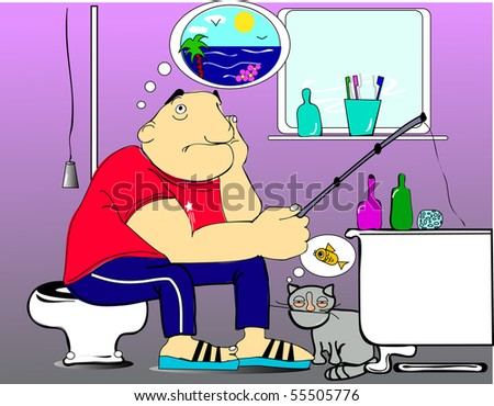Man sits wc catches fish bathtub stock illustration for A fish in the bathtub
