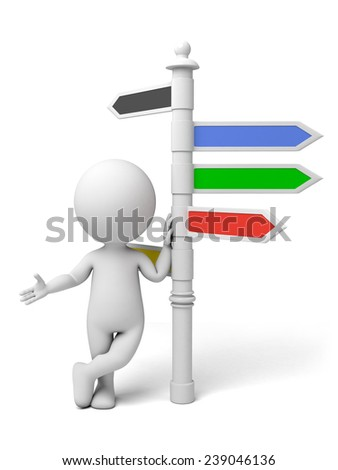 A man standing with a road sign - stock photo