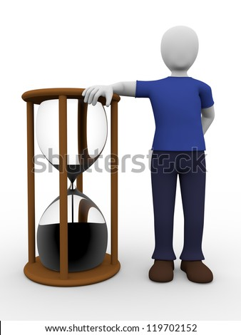 A man stanging and leaning against a sandglass - stock photo