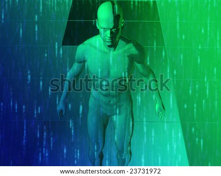 A man surrounded by energy and information, illustration - stock photo