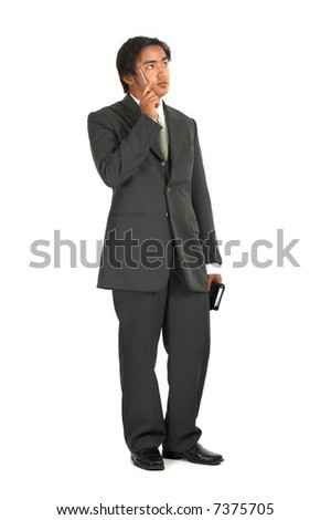 a man thinking over a white background - stock photo