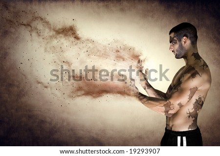 A man turning into dust, the concept of life and death - stock photo