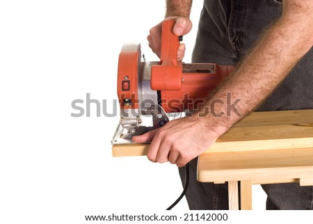 A man using a skilsaw to cut a piece of wood, but has is finger in a dangerous position