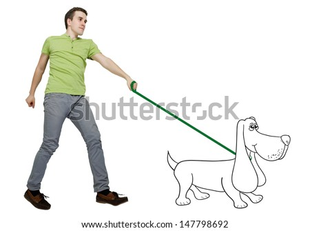 A man walking with a dog over white background. Compilation photo and illustration