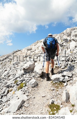 a man walks in the mountains