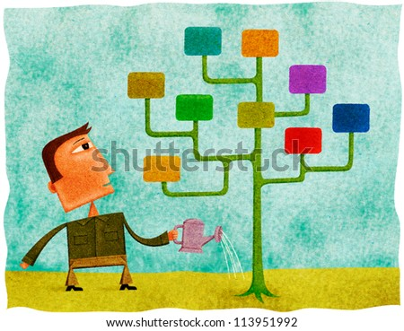 A man watering a tree with multicolor windows for leaves - stock photo