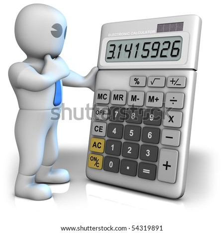 A man with a big calculator which shows pi number - stock photo
