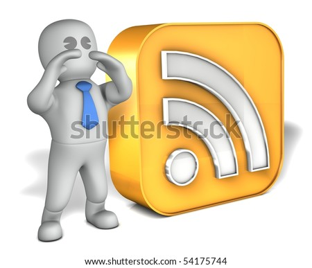 A man with a big RSS logo - stock photo