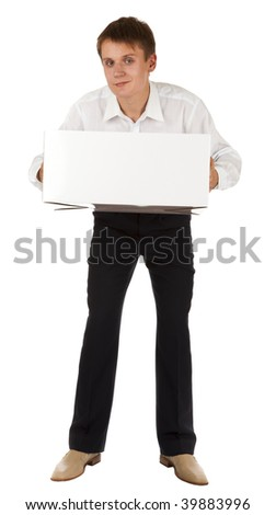 a man with a big white box, bent, on a white background