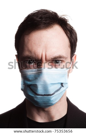 a man with a medical mask on his face