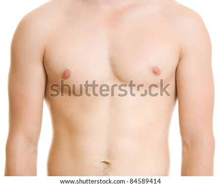 A man with a naked torso. - stock photo
