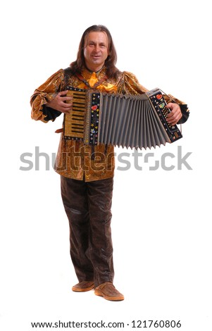 A man with an accordion on a white background